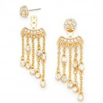 Crystal Fall Shamballa Fringe Gold Tone Ear Jacket Earrings
