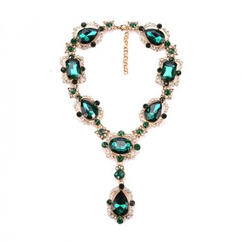 Emerald Green Regal Antique Y Statement Necklace