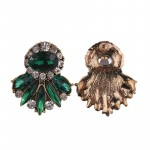 Emerald Green Crystal Burst Studs Earrings