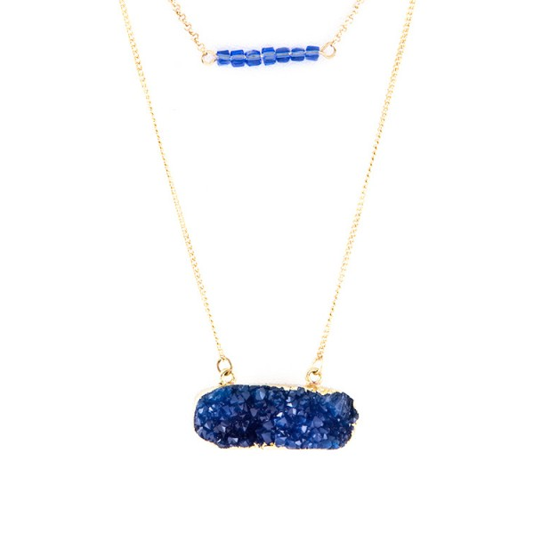 Bruna Chevron Beaded Druzy Layered Pendant Necklace Set