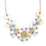 'Bungalow Bouquet' Pastel Shell Flower Statement Necklace