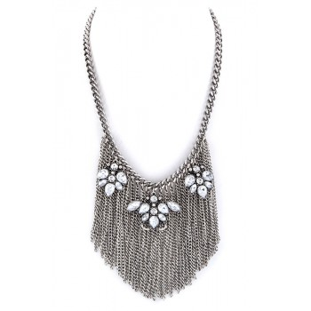 Arwen Crystal Flowers & Fringe Statement Necklace