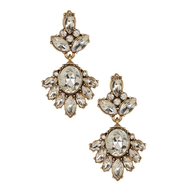 Glam Crystal Wisteria Marquise Stud Earrings