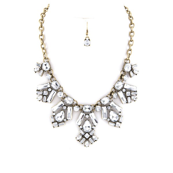 Geo Mix Crystal Stones Statement Necklace Set