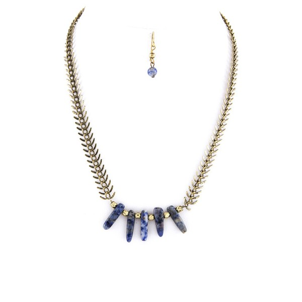 Lapis Lazuli Stone Nuggets Fishbone Chain Necklace