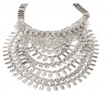 Silver Cascade Boho Layered Rhinestone Statement Necklace