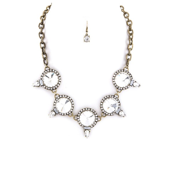 Snow White Crystal Circles Statement Necklace Set