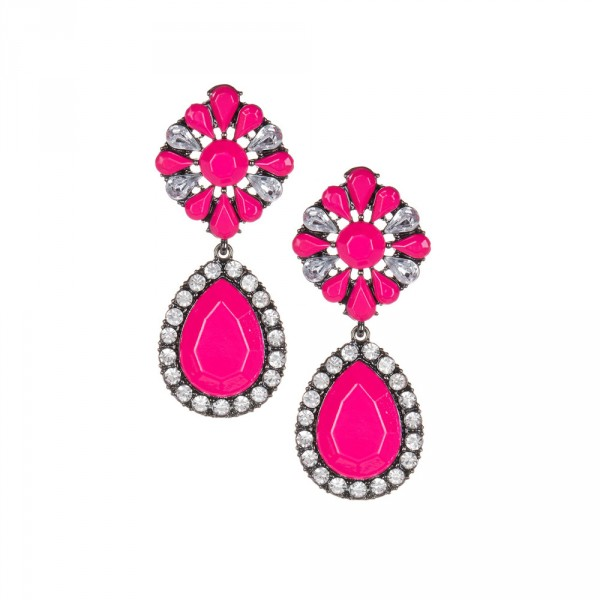 Myrcella Neon Pink Floral Crystal Drop Earrings