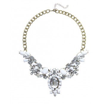 Anastasia Ivory Floral Crystal Bib Necklace