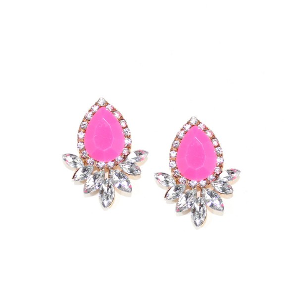 Angelia Neon Pink Crystal Wing Studs