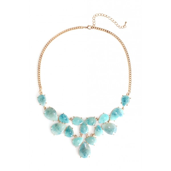 'Anouk' Seafoam Lucite Teardrop Statement Necklace