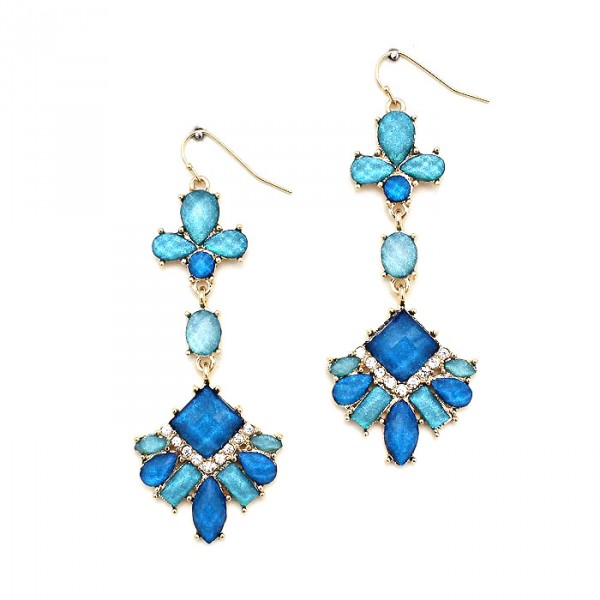 Teal & Cobalt Crystal Encrusted Laurel Earrings