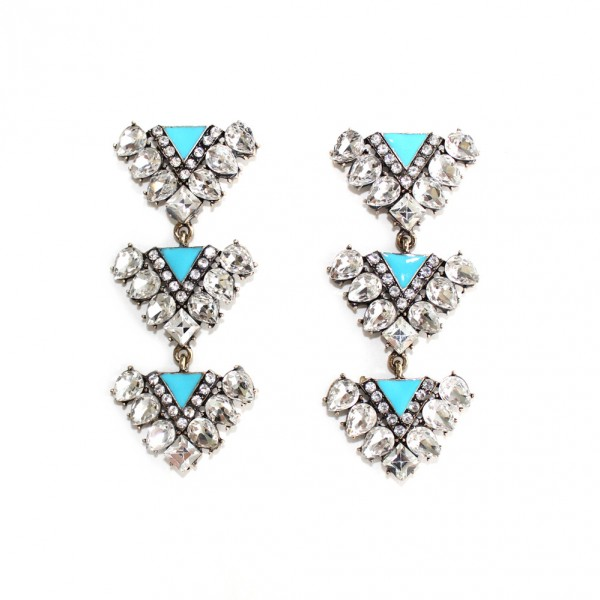 Aqua Enamel Crystal Encrusted Triads Statement Earrings
