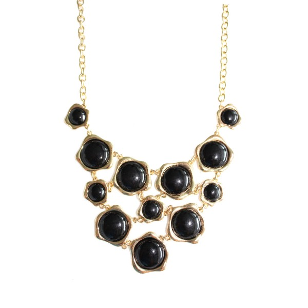 Onyx Polka Bauble Net Bib Necklace