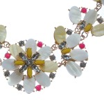 'Bungalow Bouquet' Ivory & Neon Floral Necklace