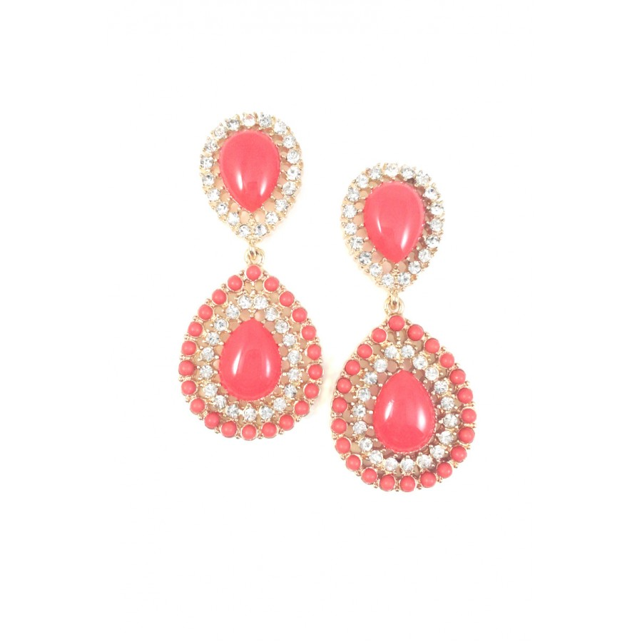 d1c28c90e Coral Crystal Teardrop Cabochon Stones Statement Stud Earrings