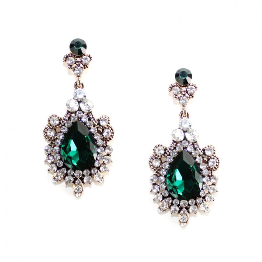 Aurora Princess Emerald Crystal Elegant Earrings