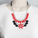Red Salvia splendens Floral Bauble Statement Necklace