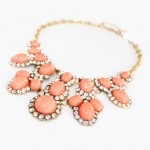 Coral Crystal Encrusted Cabochon Cluster Necklace
