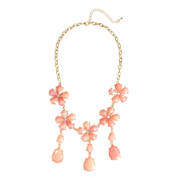 Daisy Bloom Coral Flower Fringe Necklace