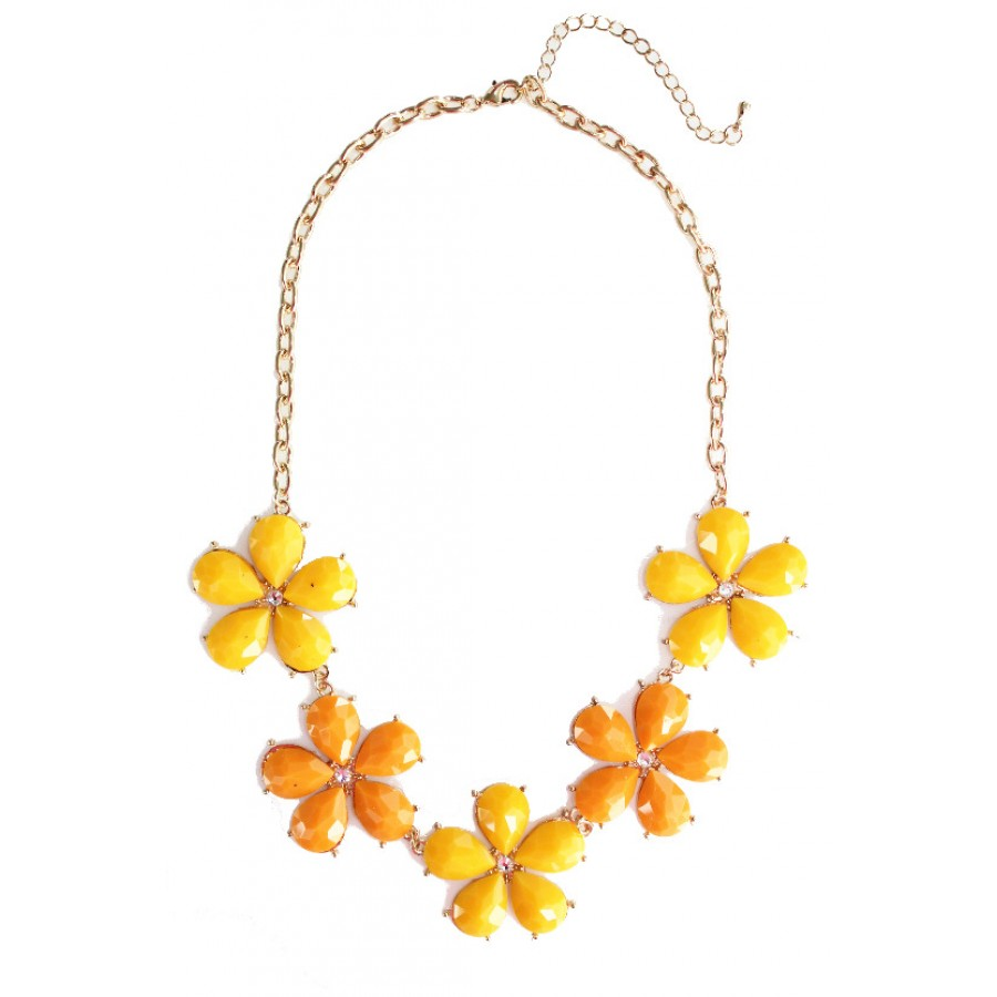 Good morning neon pink petal half flower stone bib statement necklace mango tango yellow orange floral strand necklace mightylinksfo