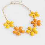 Mango Tango Yellow & Orange Floral Strand Necklace