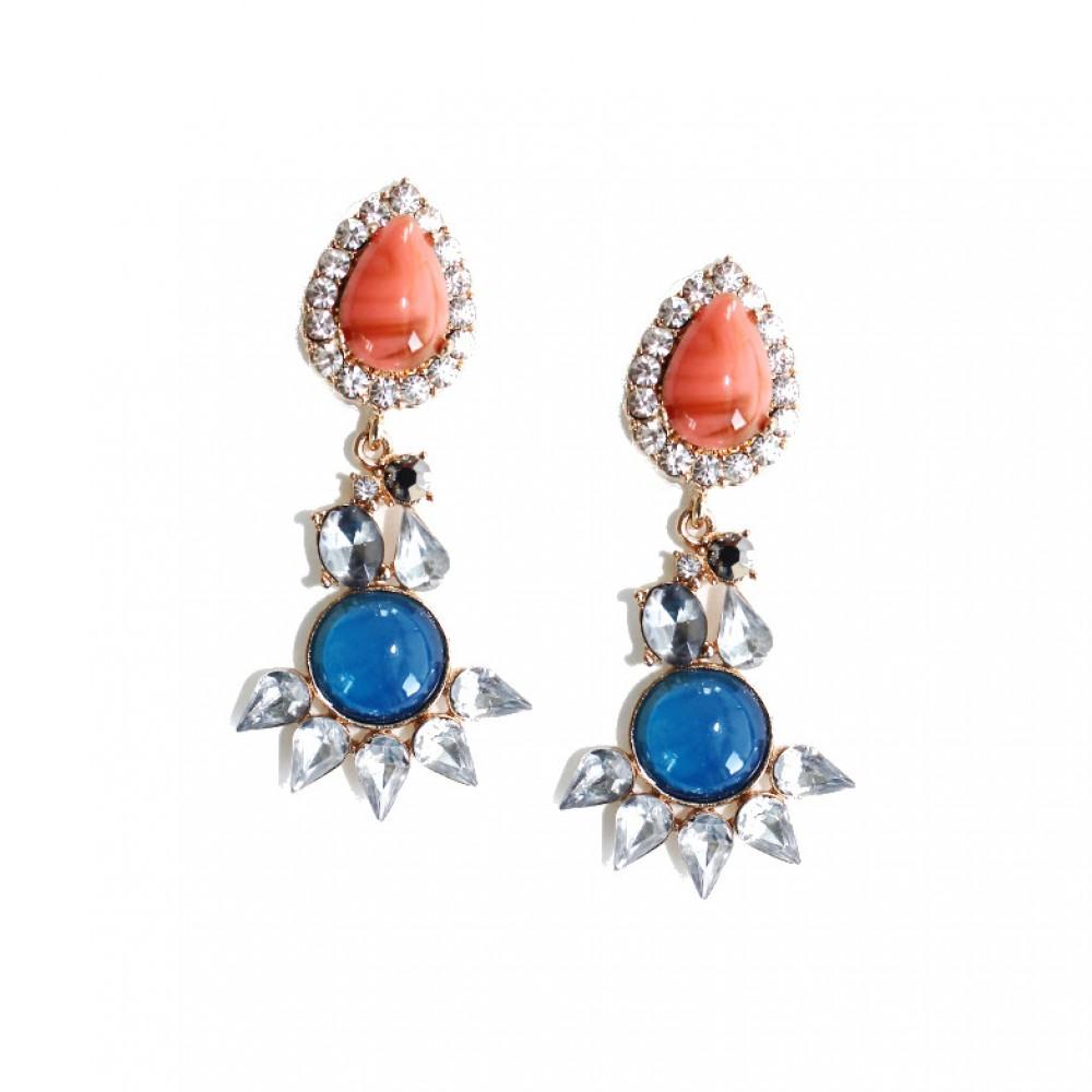 Laguna Tropic Blue Coral Bezeled Teardrop Earrings  Laguna Tropic B...