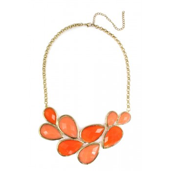 'Elidi' Coral Faceted Teardrop Cluster Bib Necklace
