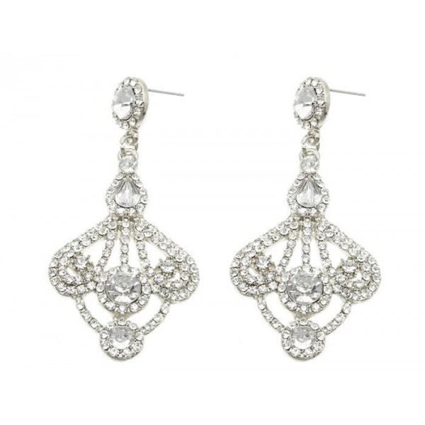Gatsby Crystal Pave Baroque Bridal Earrings