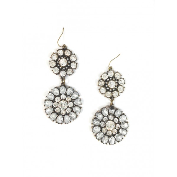 Crystal Chrysanthemum Flower Statement Earrings