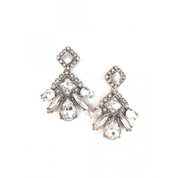 Glam Geo Crystal Stone Statement Earrings