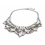 Ice Waterfall Rhinestones Encrusted Bib Necklace