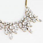 Iced Wreath Crystal Stone Cluster Statement Necklace