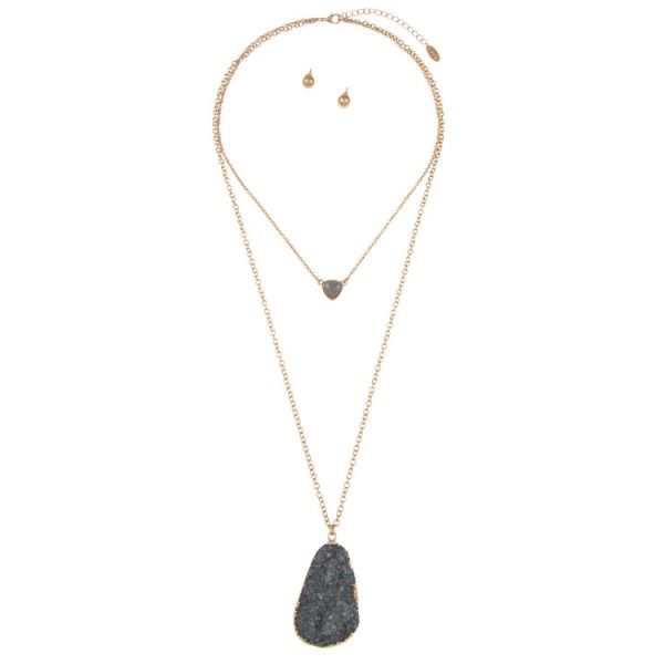 Coeur Grey Double Layered Heart & Druzy Pendant Necklace