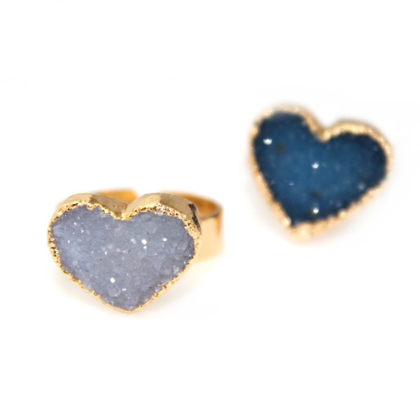 Ashy Lavender Druzy Heart Statement Ring