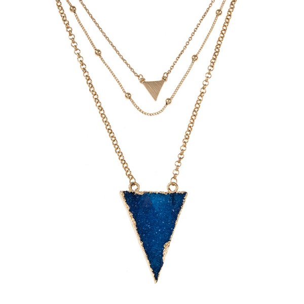 OJAI TRIPLE LAYERED TRIANGLE DRUZY STONE PENDANT NECKLACE SET