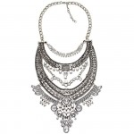 Darius Crystal Embellished Silver Statement Necklace