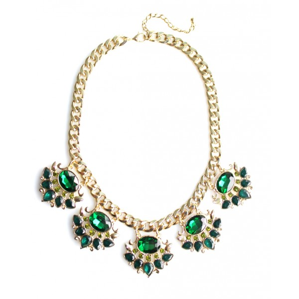 Shah Emerald Crown Embellished Statement Necklace