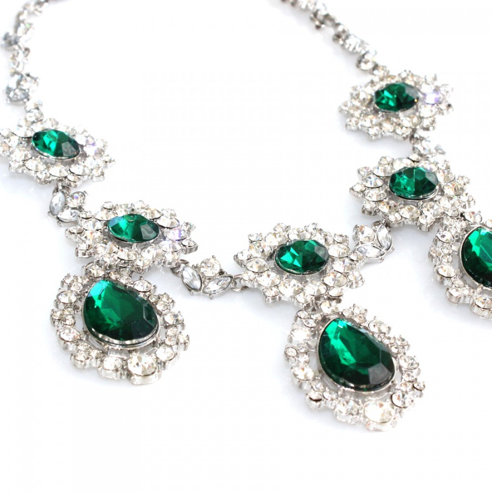 Emerald Crystallized Teardrop Glam Statement Necklace Anna