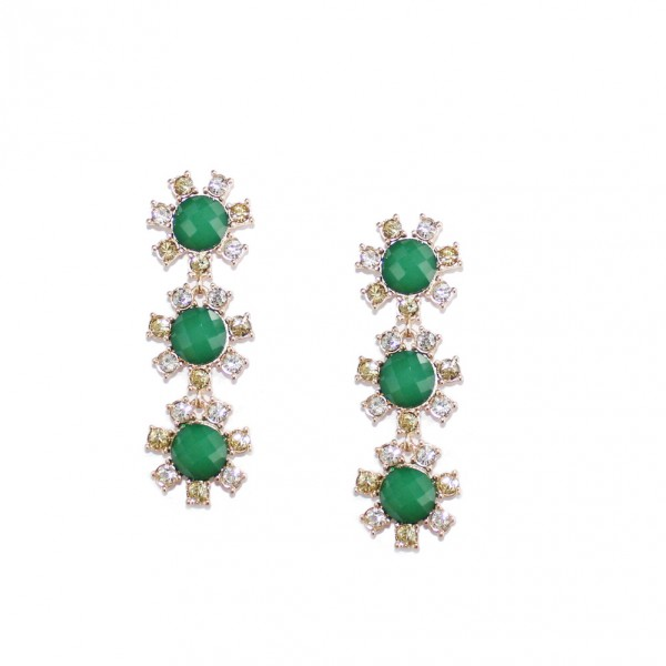 Emerald Soleil Stone Statement Earrings