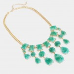 Emerald Waterfall Lucite Marbled Geo Stone Necklace