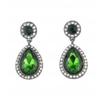 Angelina Emerald Pave Teardrop Edgy Earrings