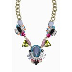 Heirloom Crystal Stone Cluster Statement Necklace