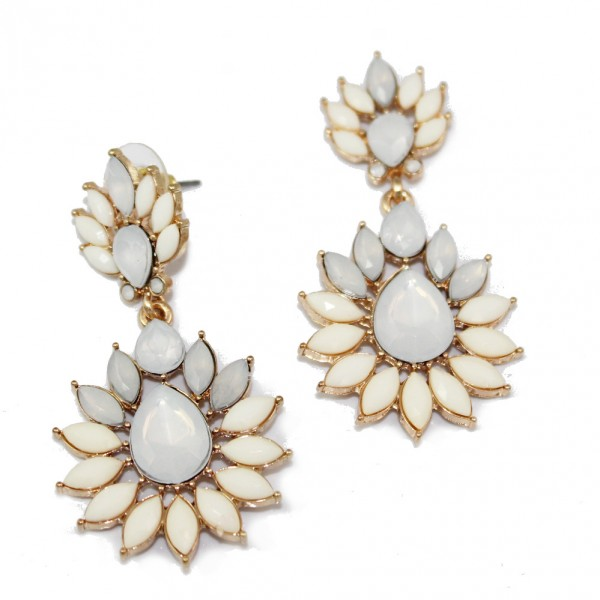 Durga Ivory Stone Burst Statement Stud Earrings
