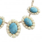 Glam Ivory Turquoise Flower Pendants Statement Necklace