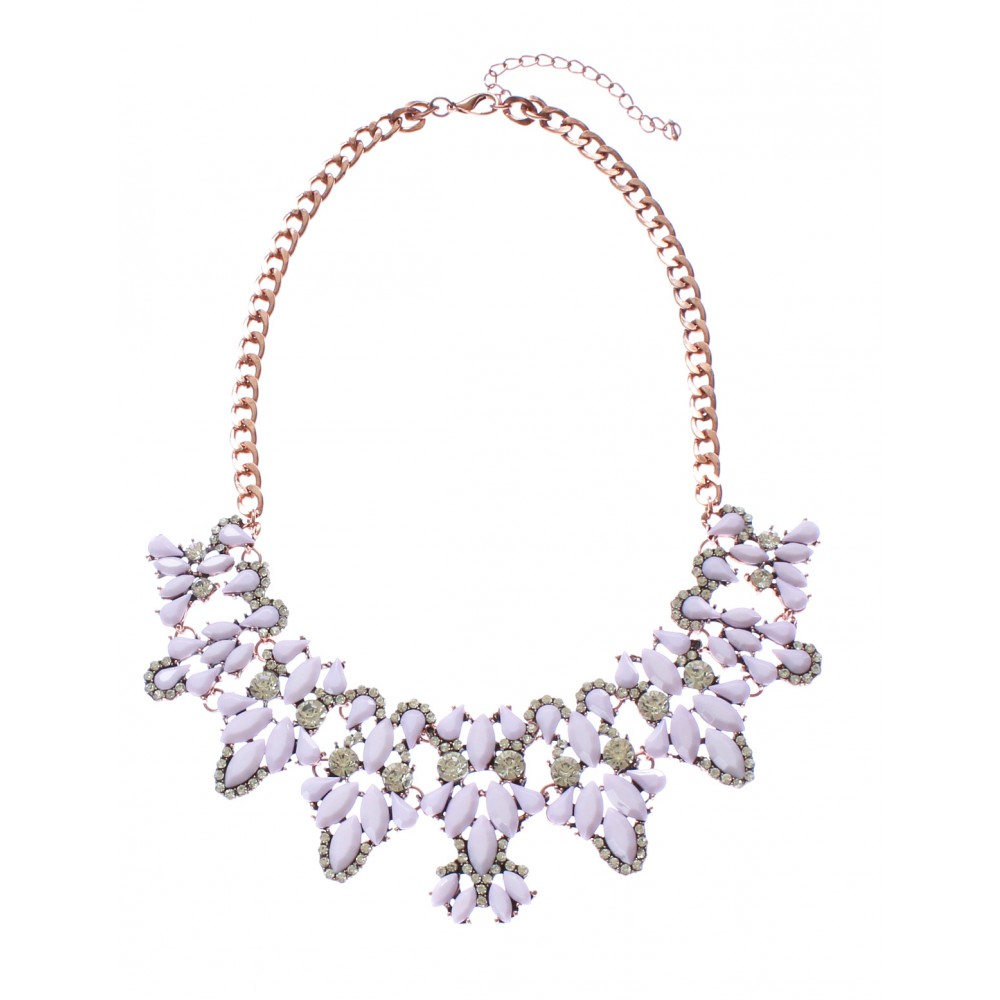 Lilac Pastel Crystal Cascade Encrusted Rose Gold Chain Statement ...