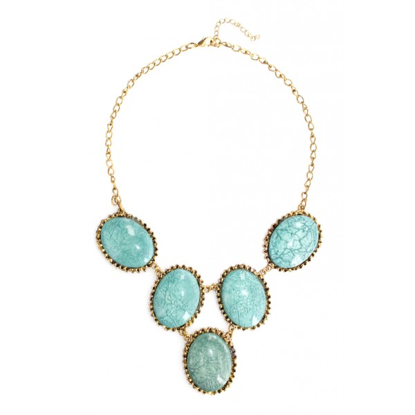 Estacia Marble Mint Chalcedony Oval Stones Necklace