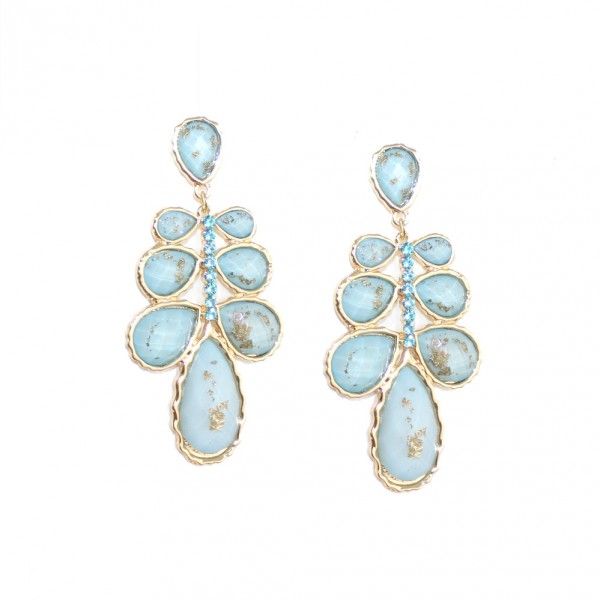 Celinia Pastel Blue Gold Foiled Laurel Earrings