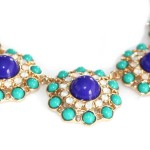 Tropic Circle Mint Navy Opal Statement Necklace