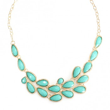 Mint Waterdrop Faceted Bauble Bib Necklace